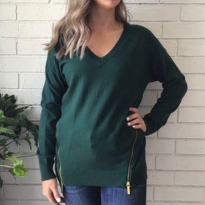 Michael Kors | Green V Neck Sweater Gold Zippers